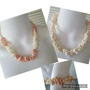 Shell jewelry.  Two necklaces and a bracelet.